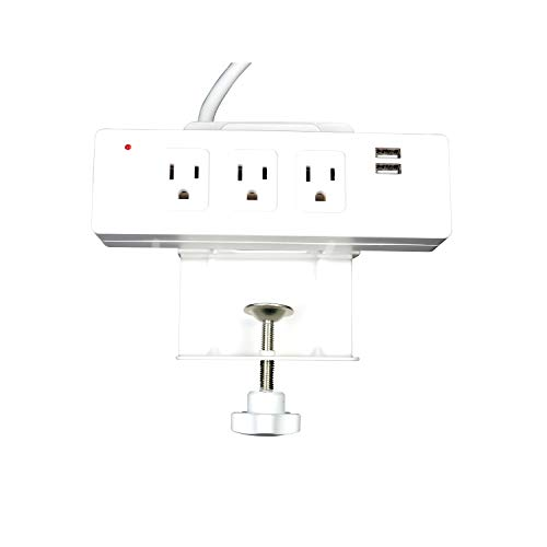WireRun Manta 2, Edge Mount Desk Outlet, 3 Power receptacles, 2 USB-A, and 1 USB-C Charging Port Powered by an 8ft Power Cord, Color White