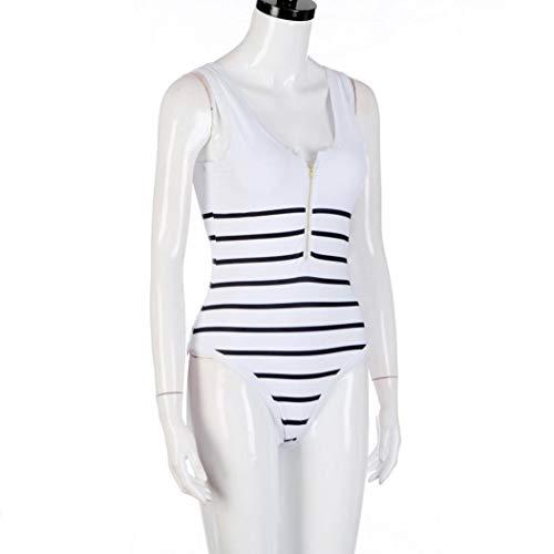 Bikinis Blanc Durée À De Bain Zippé Maillots Été Limitée Pièces 1 Femme Vintages Classique Col Sanfashion Z7CqHwC