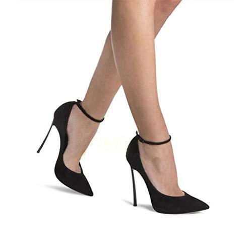 À Peu Boucle Chaussures Habillées Profonde Cheville La Journée 12Cm Hauteur Du Pointu Talons Femmes Bride Talon Bout Longue Aiguilles Fermé Black Bouche wv0cxgIq
