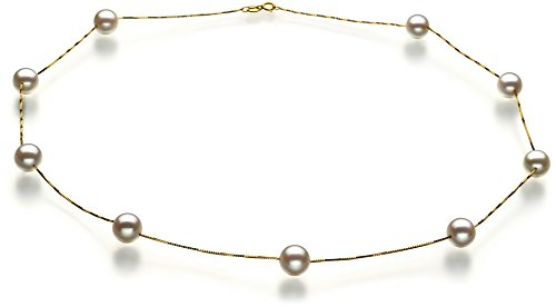 Tin Cup White 7-8mm AAA Quality Japanese Akoya 14K Yellow Gold Cultured Pearl Necklace-17.5 in length 14k Yellow Gold Tin Cup