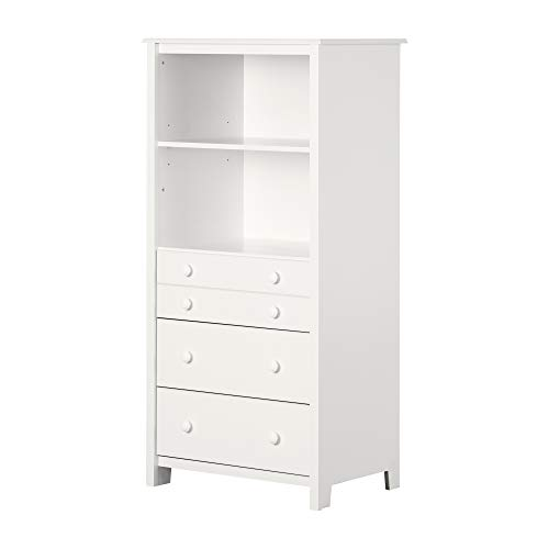South Shore 2-Shelf Storage Unit with Drawers, Pure White