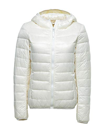 Jacket Hooded Coat Ultra Packable Outdoor Down White Warm Puffer ZiXing Lightweight Women's nv05qxRA5w