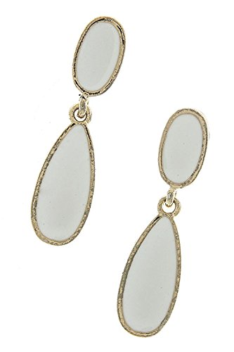 THE JEWEL RACK LACQUERED TEARDROP DANGLE EARRINGS (White) (Chain Trifari Necklace)