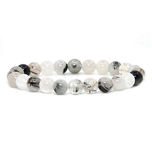 (Natural Black Tourmaline Rutilated Quartz Gemstone 8mm Round Beads Stretch Bracelet 7