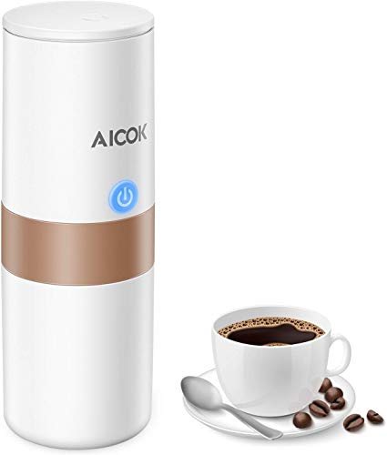 Aicok Portable Single Serve Coffee Maker, Mini K-Cup Pod Coffee Brewer, Electric Travel Coffee Machine with Wall Charger and Car Charger, Only Heating water by Car Charger, Stainless Steel
