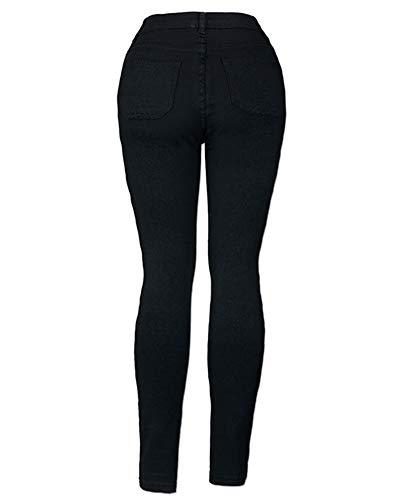 Rasgado Pantalones Agujero Stretch Skinny Negro Pencil ZhuiKunA Vaqueros Mujer Jeans wUqEwTX