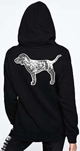 SOLD OUT - VICTORIA SECRET SOLD OUT. SIZE -MEDIUM. GORGEOUS BLING SPARKLE BLACK AND SILVER HOODIE JACKET SIZE - SILVER BLING DOG PINK - 100% COTTON