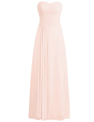 idesmaid Dresses Chiffon Long Prom Evening Gown Pleat Pearl Pink XXL (Chiffon Prom Evening Gown)