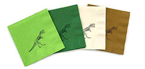 Dinosaur Napkins - Green Dinosaur Birthday Party Supplies for Kids 24 Count
