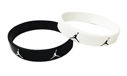 Set of 2 Slim Michael Jordan Wristband Sport Silicone Bracelet Jumpman Logo Black and White 1cm/0.4 Inches Width (White Silicone Bracelet)