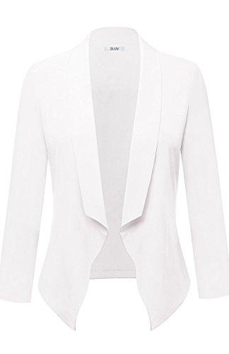 2LUV Women's Long Sleeve Lightweight Stretch Draped Blazer Jacket Off White M