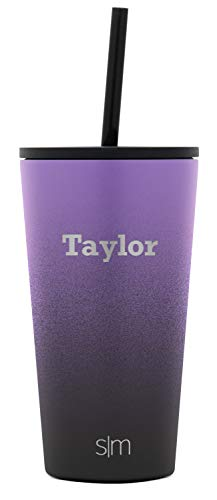 Simple Modern Personalized Gift Tumbler Custom, Classic 16oz - Straw & Flip Lid, Ombre: Violet Sky