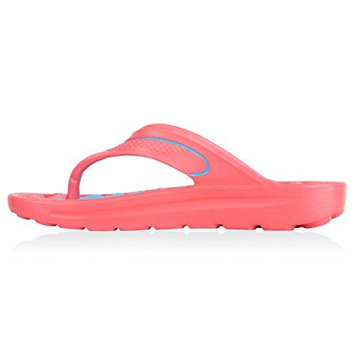 Stiefelparadies Damen Schuhe Badeschuhe Prints Zehentrenner Badesandalen Gummischuhe Flandell Pink