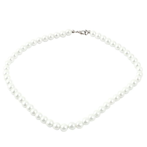 - uxcell Ladies Single Strand Clasp Round Imitation Pearl Necklace Jewlery Off White