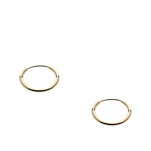 14k Yellow Gold Endless Hoop Earrings 10mm (Baby Yellow Earrings)