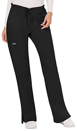 WW Revolution by Cherokee Women's Mid Rise Moderate Flare Drawstring Pant Petite, Black, X-Small Petite