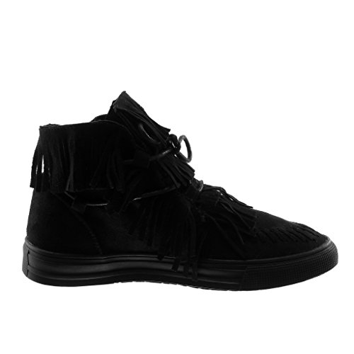 Angkorly Women's Fashion Shoes Trainers - Folk - high - Tennis - Fringe - Finish Topstitching Seams Flat Heel 2.5 cm Black j3rgoj0
