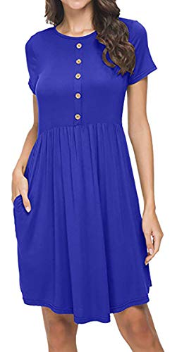 GULE GULE Women Casual Summer Short Sleeve Round Neck T Shirt Pleated Pocket Dress - T-shirt Round Neck Blue