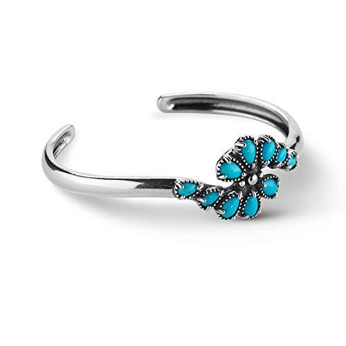 American West Sterling Silver Sleeping Beauty Turquoise Gemstone Cuff Bracelet Size Large