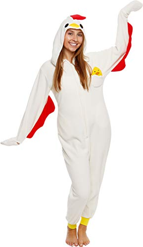 Silver Lilly Slim Fit Animal Pajamas - Adult One Piece Cosplay Chicken Costume (X-Large)