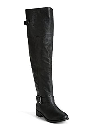 Amazon.com: Faux Leather Over The Knee Boots (Wide Width & Wide ...