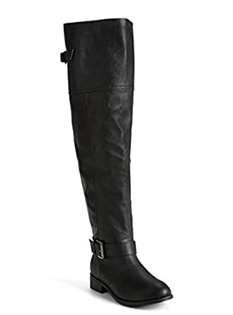 Faux Leather Over The Knee Boots (Wide Width & Wide Calf)