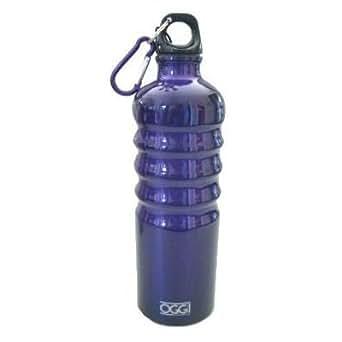 Oggi Lustre Aluminum Sport Water Bottle with Screw Top Loop Cap & Caribiner Clip-26 oz (Blueberry Blue)