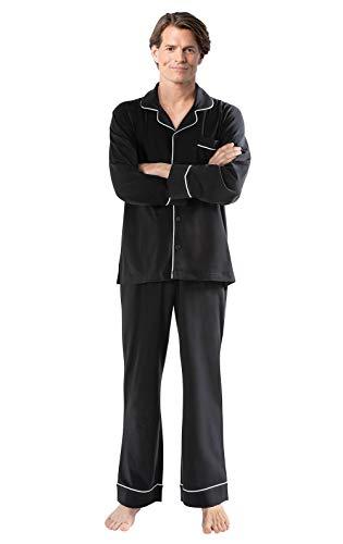 PajamaGram Mens PJs Sets Cotton - Mens Pajamas Sets, Button Front, Black, XL