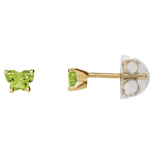Little Girl's 10k Yellow Gold August Lime CZ Imitation Birthstone Butterfly Earrings, Safety Back by The Men's Jewelry Store (for KIDS)