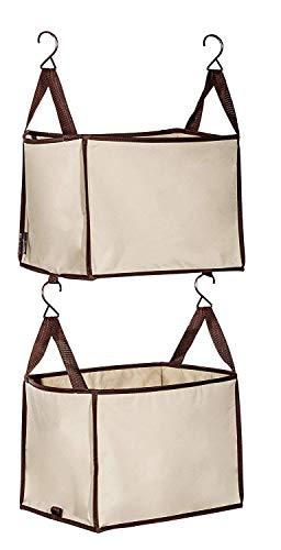 2 Shelf Closet Storage - STORAGE MANIAC 2-Shelf Hanging Closet Organizer, Heavy-Duty Hanging Shelf with Hooks, Beige