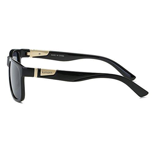 Brillante Retro Forma Kimorn Sol Unisexo Polarizado Gafas Cuadrada De Hombres Negro Anteojos K0585 w007ZXq