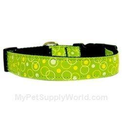 Mirage Pet Products Retro Nylon Ribbon Collar, Medium, Lime Green