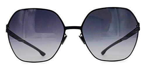 ic! berlin Jacy C. Oversized Stainless Steel Hexagon Sunglasses in Black with Gradient Black ()