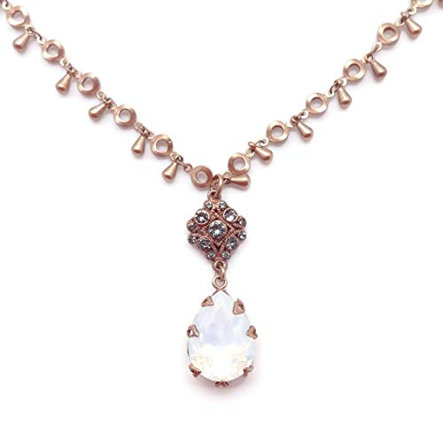 Catherine Popesco White Opalescent & Grey Swarovski Crystal Teardrop Beaded Goldtone Necklace