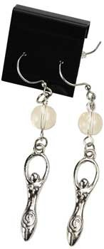 Dangling Quartz Earrings (Clear Quartz Gemstone Bead Goddess of Mother Earth Dangling Earrings)