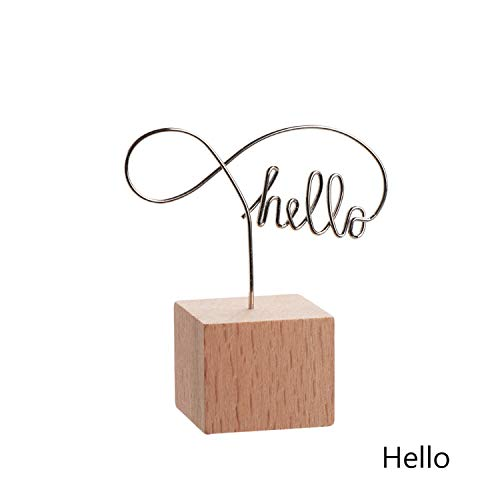 1Pc Round Wooden Photo Clip Memo Name Card Pendant Holder Message Left Supporter Picture Frame Table Number Wedding Photo Holder,Hello Square - Hello 1 Light Pendant