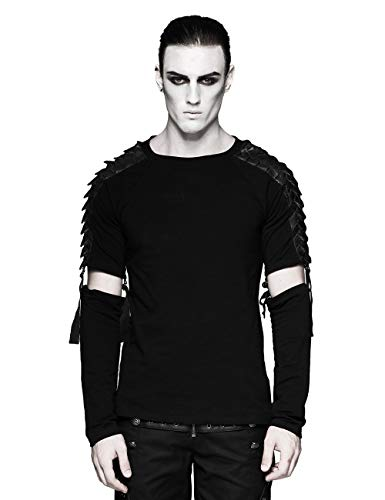 (Men's Black Gothic Punk Minimalist Diablo Warrior Detachable Long Sleeve T-Shirt)