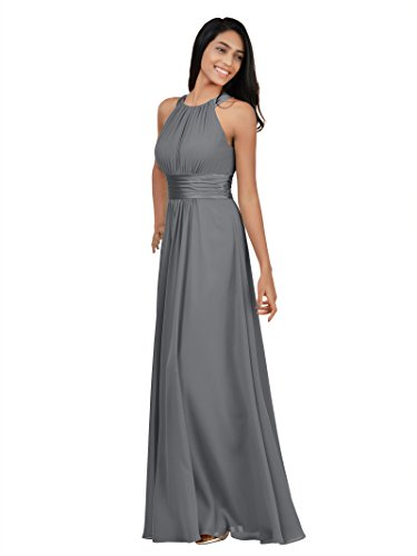 Evening Prom Party Formal Gown - Alicepub Sleeveless Bridesmaid Dresses Long for Women Formal Elegant Halter Evening Dresses for Weddings Empire Maxi Party Prom Gown, Steel Grey, US24