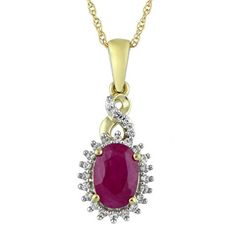 Jewelili 10kt Yellow Gold 7x5mm Oval Genuine Burmese Ruby, Round Genuine White Sapphire and White Diamond Accent Twisted Fashion Pendant Necklace, 18