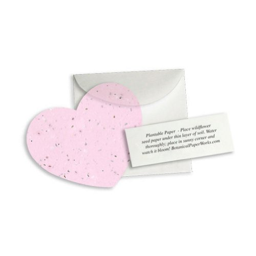 Plantable Heart Note Favor - Pink (Pack of 20)