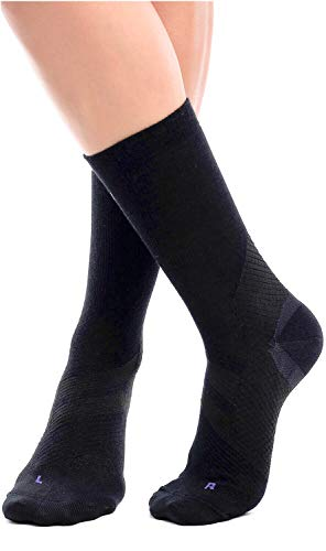 ZaTech Merino Compression Socks, Plantar Fasciitis Sock, Light Micro Crew. Heel, Ankle, Arch, Achilles Support. Increase Blood Circulation, Reduce Swelling, Foot Pain Relief. (Black, Small)