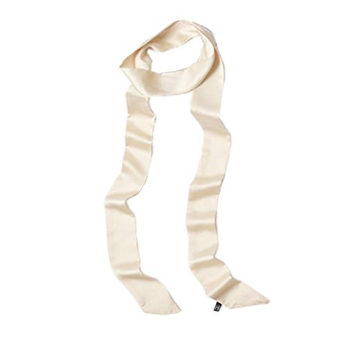 Ribbon Scarf for Women Long Skinny Satin Belt Sash Necktie Neck Scarf ZWJ01 (Cream)