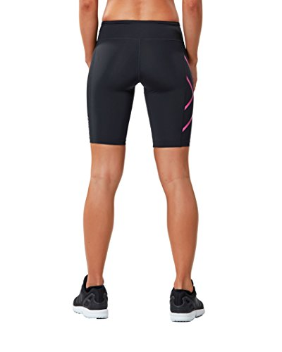 2xu Womens Mid-rise Athletic Compression Shorts, Black/cerise Pink, Small by 2XU (Image #2)