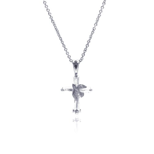 Double Accent Sterling Silver Dove Cross Pendant Necklace