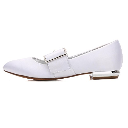 Satén Toe 5049 Heel L Hebilla yc Closed Party Corte Mujeres Bombas Wedding Plana La De Las Boda 23 Dress Zapatos Blue 6qzPYr6x