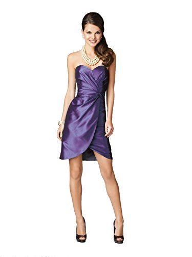 (Alfred Angelo 7207 Taffeta Strapless Sweetheart Short Wrap Cocktail Dress (14, Mulberry))
