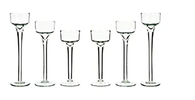 Lumin Essence Long Stem Glass Tealight Candleholders Home Decor Special Events & Holidays Set of 6 - (2) 4.5 inches, and (2) 5.5 inches and (2) 6.5 inches by Lumin Essence