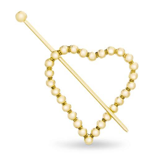 Steve Madden Women's Textured Heart Shaped Yellow Gold-Tone Hair Pin