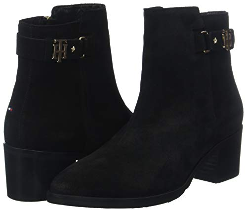Buckle Mid Suede Heel Boot Th Tommy black 990 Hilfiger Femme Botines Noir 1pqwEwH