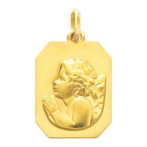 So Chic Bijoux © Pendentif Médaille Rectangulaire Ange Gardien Raphaël qui Prie Or Jaune 750/000 (18 carats)